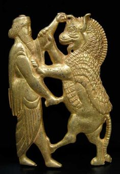 Dragon mistaken for a lion Bull with Wings?  Achaemenid-Style Gold Plaque of a King Fighting a Rampant Lion - OS.276 Origin: Central Asia Circa: 20 th Century AD