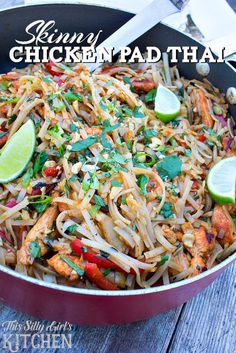 Skinny Chicken Pad Thai, a favorite dish made lighter with chicken, veggies, peanuts and classic pad Thai flavors! from ThisSillyGirlsLife.com #tablespoon #ad @tablespoon