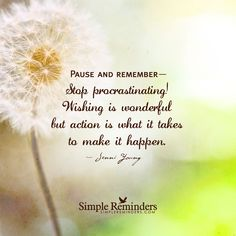 Pause and remember— Stop procrastinating! Wishing is wonderful but action is what it takes to make it happen. — Jenni Young