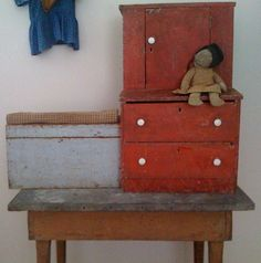 19th C Early Red step-back Child's cupboard found in Ohio