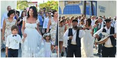 Bride walking to her wedding ceremony along the streets of  Santorini