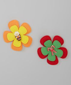 The Bow Lady Yellow & Red Pilgrim & Candy Cane Clip Set | zulily