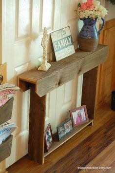 Very narrow entry table, we don't have room for anything more than this. I'm putting it on the honey do list....maybe add another shelf for more storage.