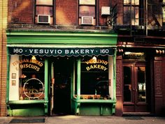 Vesuvio Bakery - a quaint bakery storefront kept intact in Soho, New York City. This is one of my favorite storefronts in Soho. A little over 90 years old, Vesuvio Bakery still looks as it did for decades. Down on Prince st. Soho, New York City, Bakery New York, Shop Fronts, City Photography, Main Street, The Neighbourhood, Old Things, Exterior