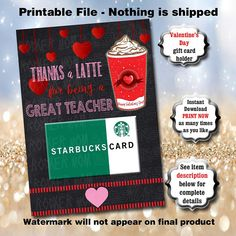 This item is unavailable Teacher Valentine, Happy Valentines Day, Valentine Party, Teacher Appreciation Gifts, Teacher Gifts, Thanks A Latte, Teacher Cards, Coffee Cards, Gift Ideas