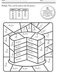 Multiplication Color Number Cake Number Cakes Math Worksheets Color By Number Multiplication Math Coloring Worksheets, Multiplication Worksheets, Number Worksheets, Multiplication Strategies, Math Fractions, 4th Grade Math Worksheets, Math Resources, Math Activities, Third Grade Math