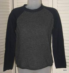 DKNY Jeans Blue Gray Colorblock Crewneck Lambswool Sweater Top Shirt S #DKNY #Crewneck