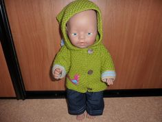 Jasje met puntmuts en spijkerbroek Baby Born 43 cm Patroon De Breikraam