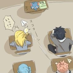 Cute. Lucy, Gray, Natsu, and Juvia. Happy's the teacher! -- LoL and Natsu is bugging the girl he likes ;)