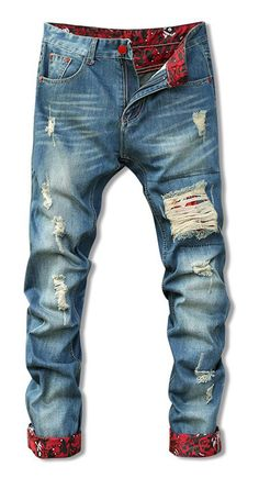 Zipper Fly Holes Cat's Whisker Design Crimping Straight Leg Jeans For Men Ripped Jeans Men, Jeans Pants, Denim Jeans, Jeans For Men, Latest Clothes For Men, Mens Fashion Shoes, Vintage Denim, Jeans Style, Men Dress