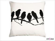 =cmCasa= 1859  Black Birds Throw Pillow Case/Cushion Cover