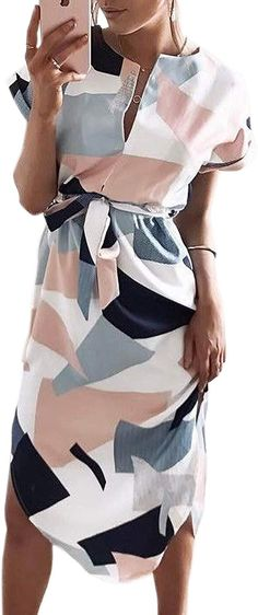 online shopping for ECOWISH Womens Dresses Summer Casual V-Neck Floral Print Geometric Pattern Belted Dress from top store. See new offer for ECOWISH Womens Dresses Summer Casual V-Neck Floral Print Geometric Pattern Belted Dress Classy Womens Dresses, Elegant Dresses Classy, Sophisticated Dress, Classy Dress, Romantic Dresses, Bride Dresses, Women's Dresses, Simple Dresses, Summer Wedding Outfits