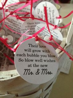 Wedding wishes tags for bubbles