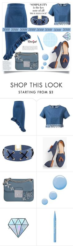 """""""All Denim, Head to Toe"""" by samra-bv ❤ liked on Polyvore featuring Talbots, MICHAEL Michael Kors, Topshop, Unicorn Lashes, Too Faced Cosmetics, alldenim and rosegal"""