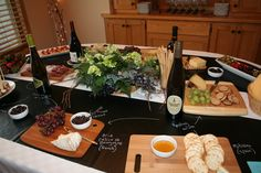 Wine and cheese Bridal shower.  Pairings written on chalkboard contact paper.