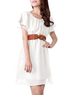 Allegra K Women Butterfly Sleeve Elastic Waist Full Length Chiffon Dress w Belt