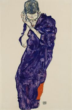 """Young Man in Purple Robe with Folded Hands (Jüngling in violetter Kutte mit verschränkten Händen),"" 1914 Egon Schiele."