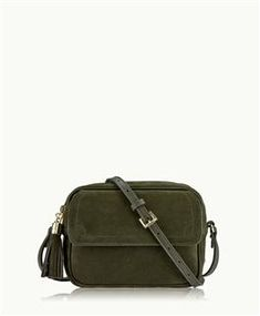 GiGi New York Madison Crossbody In Olive French Nubuck Leather Small Messenger Bag, Purses And Handbags, Satchel, New York, Leather, Gifts, Accessories, French, Gift Ideas