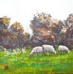 "Daily+Paintworks+-+""Three+Sheep+Grazing""+-+Original+Fine+Art+for+Sale+-+©+Leanne+Owen"