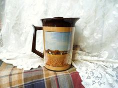 Thermo-Serv Hot N Cold Beverage Pitcher- Westbend Made in USA Serving Pot- Carafe with Bucolic Farm Scene- Corn-Red Barn-Farm House-Country by OrphanedTreasure on Etsy
