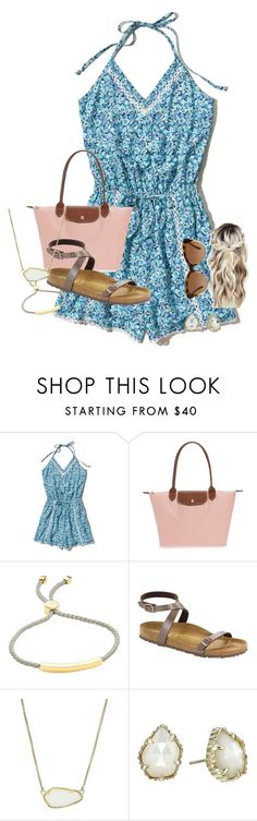 """Meet me!! ::abby::"" by water-whale ❤ liked on Polyvore featuring Hollister Co., Longchamp, Monica Vinader, Birkenstock, Kendra Scott and Michael Kors"