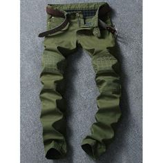 Checked Spliced Zipper Fly Narrow Feet Pants