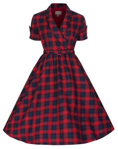 Shop Lindy Bop 'Courtney' Perfectly Plaid Chic Inspired Red & Blue Swing Dress (Size Free delivery and returns on eligible orders. Retro Wedding Dresses, Vintage Dresses 50s, 50s Dresses, Retro Dress, Vintage Clothing, Cute Dresses, Vintage Outfits, Fashion Dresses, 50s Vintage