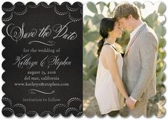 Classy Scallops - Signature White Photo Save the Date Cards - Sarah Hawkins Designs - Black : Front