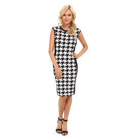 Calvin Klein Calvin Klein  Rayon Knit Houndstooth Dress CD4W19T3 BlackEggshell Womens Dress for 70.99 at Im in!