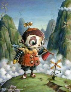 couverture-le-planteur-d-eolienne, colorful child robot watering plant, art by Jeremy Moncheaux, http://klimtbalan.blogspot.com/2010/10/jeremy-moncheaux.html, AND AT Geek Zine.com 32 Beautiful and Creative Children's Book Illustrations – Inspiration