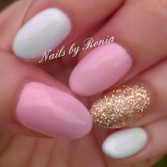 Pastel pink & white nails with hold glitter #gellish #pointynails