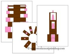 Pink Tower and Broad/Brown Stair Pattern Cards Set 3 - Printable Montessori Sensorial Materials for Montessori Learning at home and school.