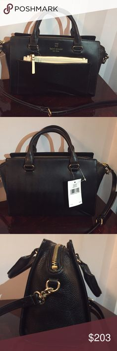 KATE SPADE MINI BERNADINE SATCHEL ‼️PRICE IS FIRM ‼️                                      Very elegant and classic KATE SPADE black leather satchel. Detachable and adjustable shoulder strap. Interior zipper pocket and two functional slip pockets. Exterior zipper pocket. Gold tone hardware details. Top zip closure. kate spade Bags Satchels