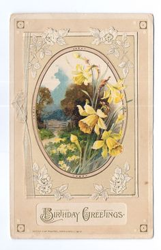 Antique 1913 Birthday Post Card WINSCH Daffodils & verse on inside page ##50 | eBay
