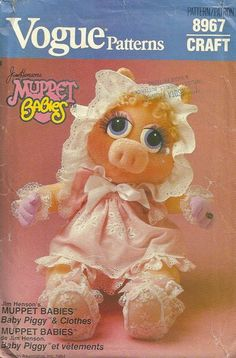 Vogue 599 8967 1980s Muppet Babies Miss Piggy Doll and Doll Clothes Pattern Stuffed Animal Vintage Sewing Pattern by patterngate.com