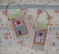 OTT House Swap Patchwork wall hanging ♥ A pretty patchwork house made in raw edge machine embroidery and decorated with a loving heart.