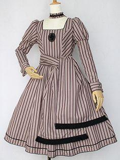 Victorian maiden レジメンタルストライプタッセルロングドレス