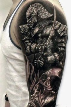 There are thousands of years of history behind every Samurai tattoo, so everything has to be done perfectly. Here are 70 great samurai tattoo designs. 3d Tattoos, Best Sleeve Tattoos, Skull Tattoos, Body Art Tattoos, Tattoo Art, Tatoos, Male Back Tattoos, Strong Tattoos, Dragon Tattoos