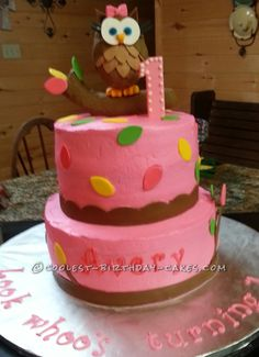Look Whoo s One   Owl Cake... This website is the Pinterest of birthday cake ideas