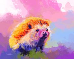 Sweet Hedgehog, digital painting. Colorful painting of a cute little hedgehog. Prints and products are available in my #society6 store. #hedgehog #portrait #animal #wild #animalpainting #colorful #painting #digital #prints #art #illustration #animalart #hedgehogpainting #cute #digital