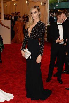 Cara Delevingne in studded Burberry. #MetGala