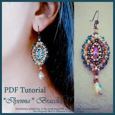 DIY Photo Tutorial Eng-ITA ,*Ilyenna* earrings ,PDF Pattern 65 with swarovski ,seed beads,gouttes