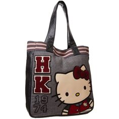Amazon.com: Hello Kitty Varsity SANTB0933 Shoulder Bag,Grey/White,One... ($55) ❤ liked on Polyvore featuring bags, handbags, shoulder bags, white purse, man bag, white shoulder bag, grey shoulder bag and hello kitty shoulder bag