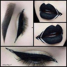 Makeup Eyeliner Liquid Make Up Ideas Gothic Eye Makeup, Edgy Makeup, Dark Makeup, Fantasy Makeup, Makeup Goals, Makeup Inspo, Makeup Art, Lip Makeup, Makeup Inspiration