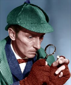 "Peter Cushing as Sherlock Holmes in Hammer Films' ""The Hound of the Baskervilles"" (1959)"