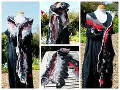 SALE-Unique-Nuno-felted-silk-wool-shawl-scarves-black-red-white-lagenlook-OOAK