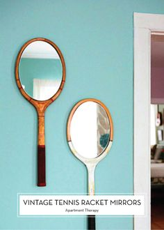 MAY DIYS – Vintage Tennis Racket Mirrors // how cute would this be for a lake house or beach house?