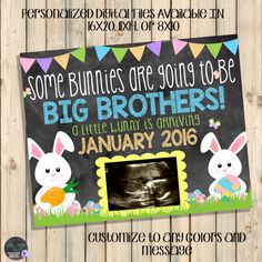 Easter Pregnancy Announcement Sign, Chalkboard Baby Poster, Big Sister To Be, Ultrasound Announcement, Spring Pregnancy, Promoted, Digital by SquishyDesignsbyMe on Etsy