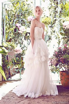 SNOW by ANNASUL Y. 2016 #bridal gowns strapless sweetheart neckline embellished bodice princess romantic tulle layered a line ball gown #wedding dress brush train (sa3129b) mv
