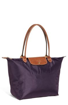 Longchamp 'Le Pliage - Large' Tote available at #Nordstrom in Bilberry for everyday use. Too matchy with the larger bag?